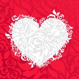 Love abstract background. Heart and roses petals. Valentine's or wedding background. Red and white Stock Photos
