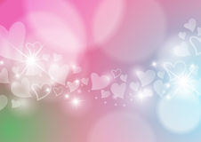 Love Abstract Background with Hearts and Bokeh Lights Stock Images