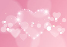 Love Abstract Background with Hearts and Bokeh Lights Royalty Free Stock Photo