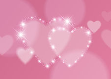 Love Abstract Background with Hearts and Bokeh Lights Royalty Free Stock Photography