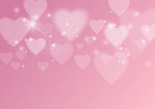 Love Abstract Background with Hearts and Lights Stock Images