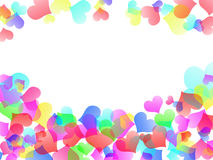 Love abstract background shiny hearts colorful blurs Stock Images