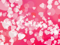 Love abstract background shiny hearts colorful blurs Stock Photos