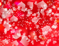 Love abstract background shiny hearts colorful blurs Royalty Free Stock Images