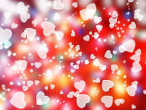 Love abstract background shiny hearts colorful blurs Royalty Free Stock Image
