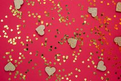 Free Love Abstract Red Background With Golden Heart Shaped Glitter. Party Or Valentine&x27;s Day Flat Lay. Party Greeting Card Royalty Free Stock Images - 165590549