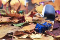 Autumn leaves with some decorative elements. Love abstraction. Autumn leaves with some decorative elements Stock Photography