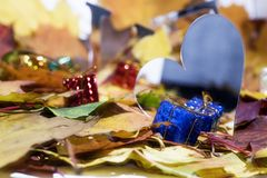 Love abstraction. Autumn leaves with some decorative elements.  royalty free stock images
