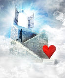 Love access on top with gate entrance and stairway Stock Photography