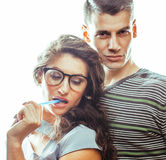 Love affair at work, young pretty couple, man and woman together Stock Photography