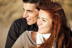 Love and affection between a young couple. In outdoor (selective focus with shallow DOF Stock Image