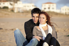 Love and affection between a young couple. In outdoor (selective focus with shallow DOF Royalty Free Stock Photo