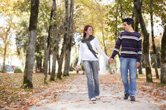 Love and affection between a young couple. At the park in autumn season (selective focus with shallow DOF Stock Images