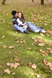 Love and affection between a young couple. At the park in autumn season (selective focus with shallow DOF Royalty Free Stock Images
