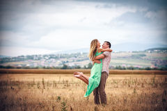 Love and affection between a young couple. Happy Love and affection between a young couple Royalty Free Stock Photography