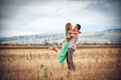 Love and affection between a young couple. Happy Love and affection between a young couple Stock Photography