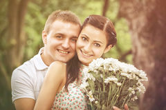 Love and affection between a young couple Stock Images
