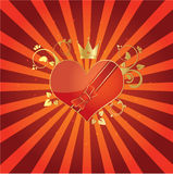 Love is in the air. Illustration of heart with flourish Royalty Free Stock Image