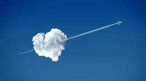 Love is in the air. Heart shaped cloud - love concept stock photography