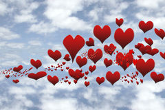 Love is in the air. A lot of hearts floating in the sky heavenly royalty free illustration