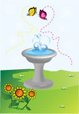 Love in the air. Fountain with butterflies and sun flower Royalty Free Stock Images
