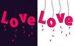 Love is in the air concept. Love letters hanging on chain with leafs Royalty Free Stock Photo