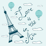 Love is in the air. Concept card with Eiffel tower Stock Images