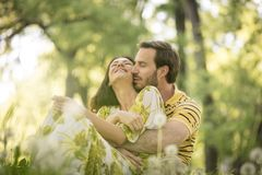 Love is in the air. Couple in nature. stock images