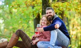 Love is a in the air. love date and romance. Spring mood. couple in love relax in autumn forest. happy woman and bearded. Love is a in the air. love date and royalty free stock images