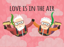 Love is in the air. Grandparents skydive. lovers holding hands. love is in the air stock illustration