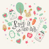 Love is in the air greeting card design Stock Images