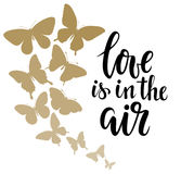 Love is in the air Hand drawn calligraphy and brush pen lettering with border of gold butterflies. Design for holiday greeting card and invitation of wedding Royalty Free Stock Photos