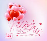 Love is in the Air Happy Valentines Day Typography Message. With Red and Pink Balloon Hearts. Vector Illustration Stock Photos