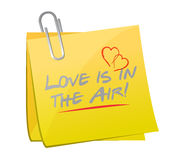Love is in the air memo post illustration Royalty Free Stock Photos