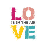 Love is in the air quote poster. Pastel color typography letters on white background Royalty Free Stock Images