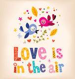 Love is in the air retro design with cute love birds Stock Photo