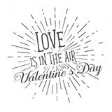 Love is in the Air text and lettering. Vector Illustration. Royalty Free Stock Photos