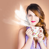 Love is in the air. Woman with coffee cup Royalty Free Stock Image