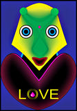 Love Alien. Great creative abstract textural colorful artistic portrayal of a bright person Alien red and yellow hearts with the inscription LOVE drops of blood Stock Images