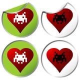 Love aliens stickers Stock Image