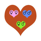 Love for all. Heterosexuality and homosexuality Stock Image