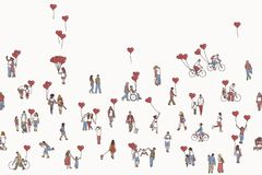Love is all around - illustration of tiny people holding heart shaped balloons. Stock Image