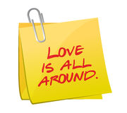Love is all around post illustration design Stock Images