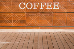 LOVE for all thing Coffe is the billboard on the wall, backgroun Stock Photo