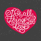 Love all things with love in heart on vintage background Stock Images