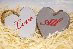 Love all wooden hearts Stock Photo