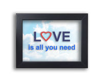 Love is all you need text on a sky background frame. stock images