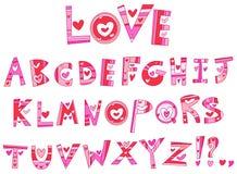 Love alphabet. Set with hearts stock illustration