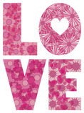 LOVE Alphabet with Flowers Illustration Stock Image