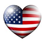Love America Glossy STARS and STRIPES HEART Stock Photos